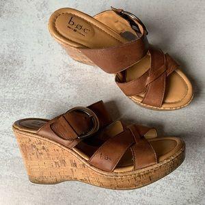 BOC Strappy Cork Wedge Sandals